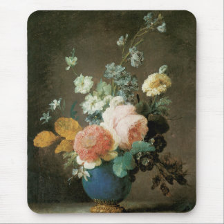 Roses, Ranunculus and Other Flowers in a Blue Vase Mouse Pad