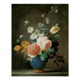 Roses, Ranunculus and Other Flowers in a Blue Vase Poster