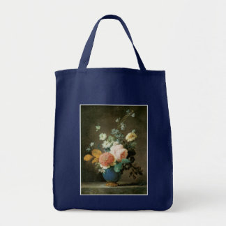 Roses, Ranunculus and Other Flowers in a Blue Vase Tote Bag