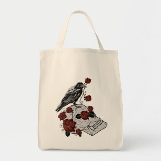 Roses, Ravens and Skull Tote Grocery Bag