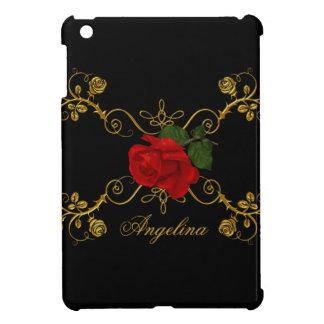 Roses Red Black White Gold iPad Mini Covers
