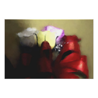 Roses & Red Bow Gift of Love Painting on CANVAS Poster