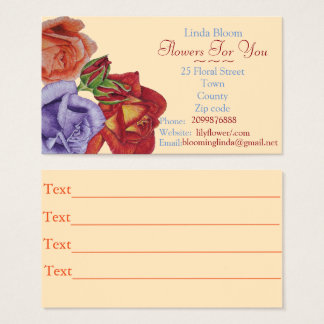 roses red peach blue flowers art gardener florist business card