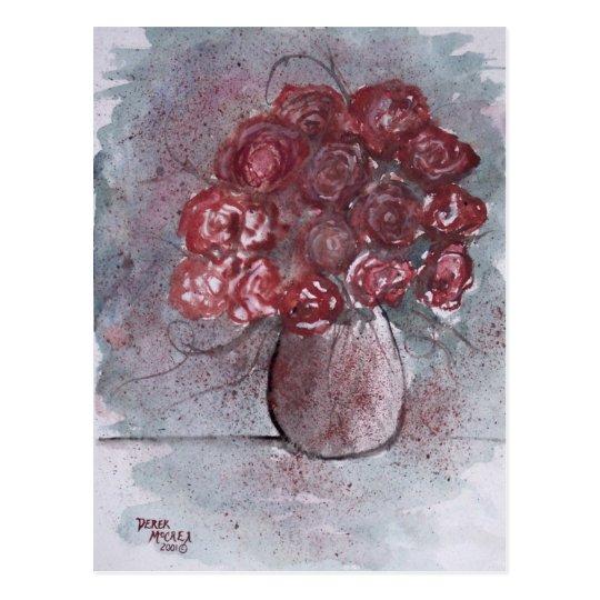 ROSES red watercolor art flower painting Postcard