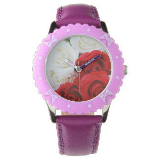 roses red white floral smile happy joy peace wrist watches