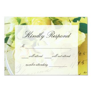 Roses, ribbon, old handwriting RSVP Card