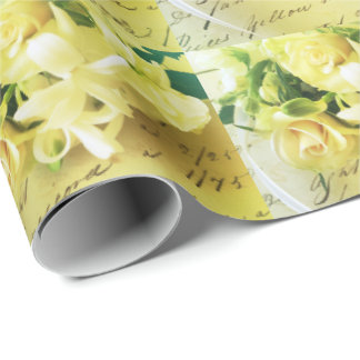 Roses, ribbon, old handwriting wrapping paper