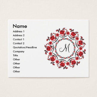Roses ring Personalized Monogram Initial Business Card
