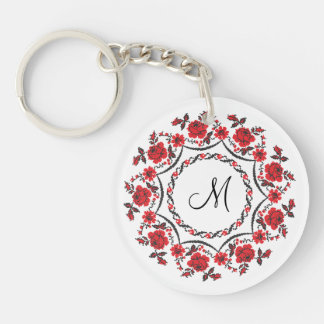 Roses ring Personalized Monogram Initial Keychain