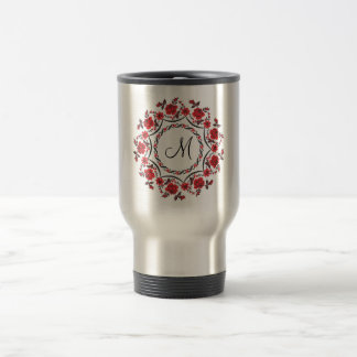 Roses ring Personalized Monogram Initial Travel Mug