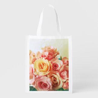 Roses romantic grocery bag