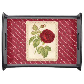 Roses rouges et de dentelle serving tray