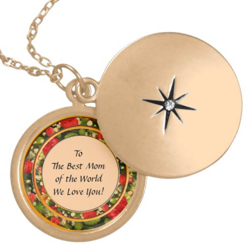 Roses Round Frame with Dedication Necklace