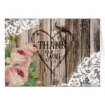 Roses Rustic Wood and Lace Thank You Card