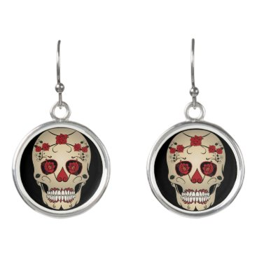 Halloween Themed Roses Skull Earrings -Day of the Dead Jewelry