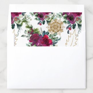 Roses, Snowflakes, and Holly Envelope Liner 5x7