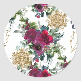 Roses, Snowflakes, and Holly Fancy Sticker