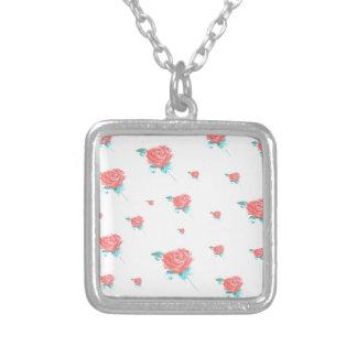 roses square pendant necklace