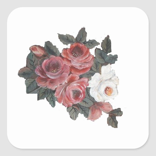 roses square sticker