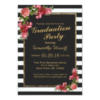 Roses Stripes and Gold Graduation Party Invitation