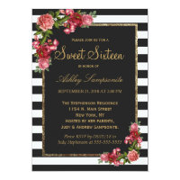 Roses Stripes and Gold Sweet 16 Invitations