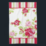 "Roses &amp; Stripes Kitchen Towel<br><div class=""desc"">This Roses and Stripes Kitchen Towel features pink roses with matching stripes for a Shabby Chic or Cottage look.</div>"