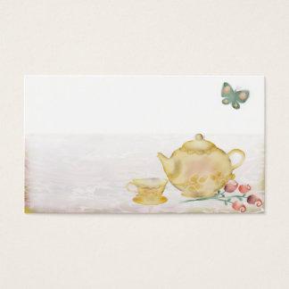 Roses teapot flowers butterflies tea cup business business card