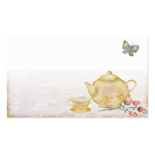 Roses teapot flowers butterflies tea cup business business card template