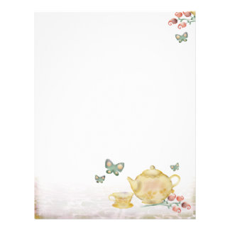 Roses teapot flowers butterflies tea cup letterhea letterhead
