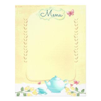 Roses teapot shabby chic tea party menu letterhead