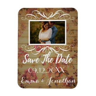 Roses Template 2 Save the Date white script Magnet