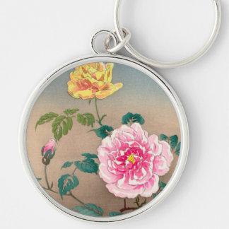 Roses Tsuchiya Koitsu japanese flowers painting Key Chains