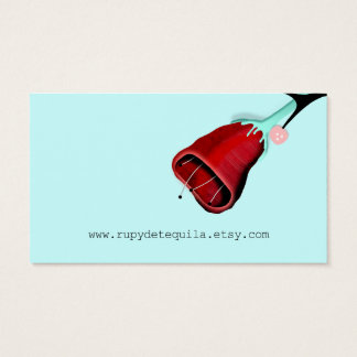 Roses Turquoise Retro Business Card
