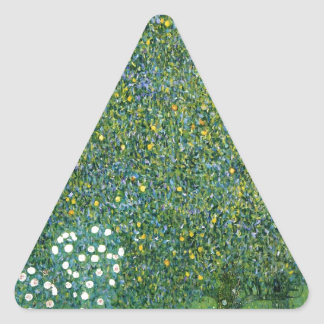 Roses under the Trees Cute Triangle Stickers