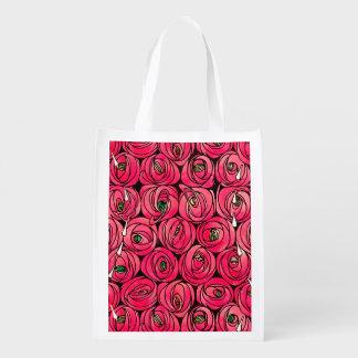 Roses Vintage Floral Art Nouveau Reusable Grocery Bag