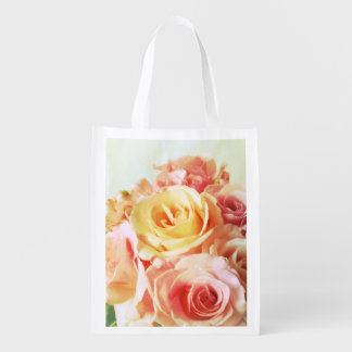 Roses warm colors grocery bag