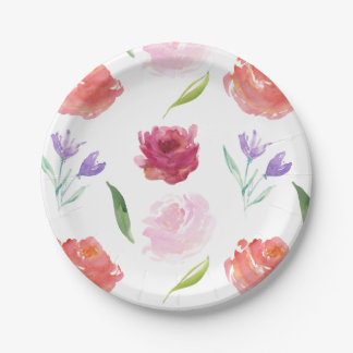 Roses Watercolor Floral Paper Plate