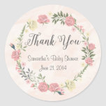 Roses Watercolor Round Stickers