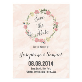 Roses Watercolor Save The Date Postcard