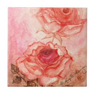 Roses Watercolour Pink Tile