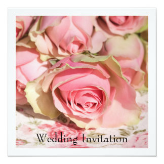 "Roses Wedding Invitation 5.25"" Square Invitation Card"