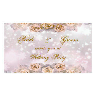 Roses Wedding Party Invitation - Business Card Template