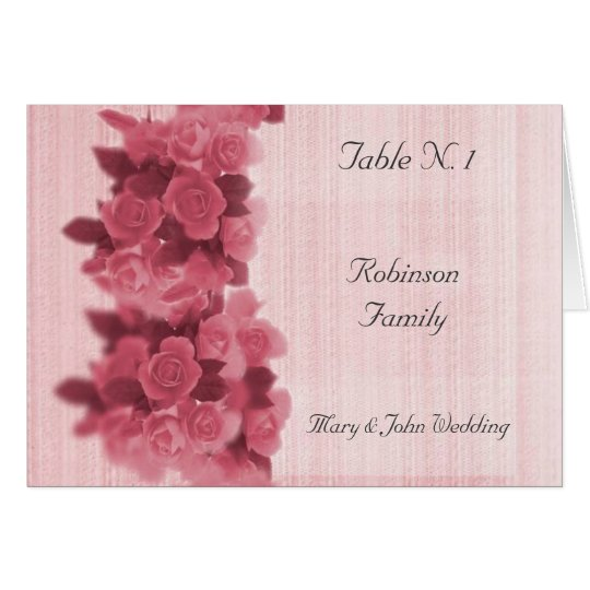 Roses Wedding Table Seating Menu Card