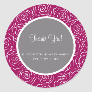Roses Wedding Thank You Favor Stickers -raspberry