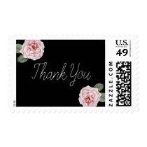 Roses Wedding Thank You Stamp   Elegant Script