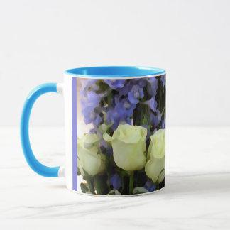 Roses White Blue Lobelia Mug