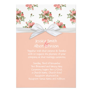 Roses White Damask Wedding Invite
