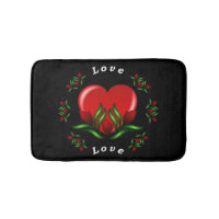 Roses With A Heart Words Say Love In Red Text Bathroom Mat