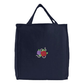 Roses with Beads Embroidered Tote Bag