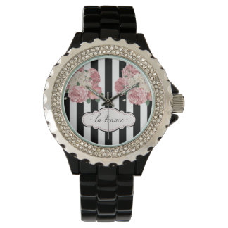 Roses with Black and White Stripes Wrist Watch